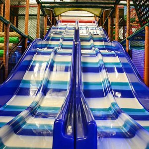 This is a wicked slide. 4 lanes, 16 feet tall, and almost 40 feet long. Can you handle this speed?