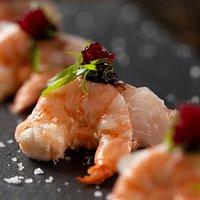 Sashimi Ebi & Peixe Branco