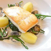 Fresh fish fillet, clams and samphire