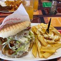 Double kebab avec des frites