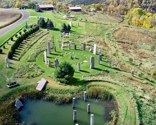 Aerial view of the Great Stone Circle at Kinstone in the fall.