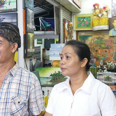 Agus Art Shop, Sanur : painter   I Ketut  + his wife.