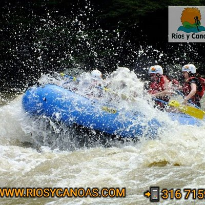 Rafting in San Gil. Enjoy the tour in the Fonce  river into the boat with a guide and one into a security kayak.  You can Swimming. The tour is two hours