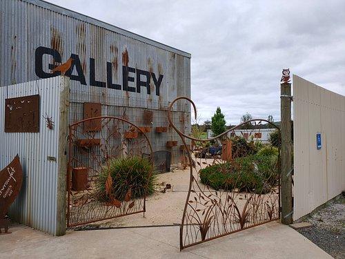 Enter the sculpture garden via a beautiful wrought iron entrance gate