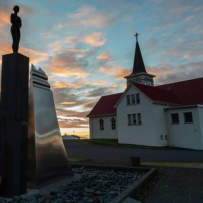The Statue 'Syn' next to the church in Grundarfjörður