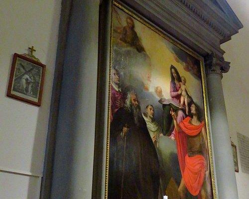 Tele seicentesca di Madonna col Bambino tra Santi; autore Jacopo Chimenti (opera posta nel secondo altare di sx)