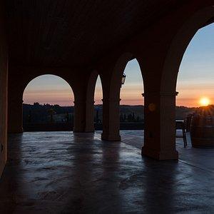 Coria Estates patio at sunset.
