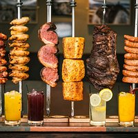 From left to right: Chichen Wrapped w/ Bacon, Chicken Wings, Picanha (Rump Steak), Cinnamon Pineapple, Flank and Brazilian Sausage. :)