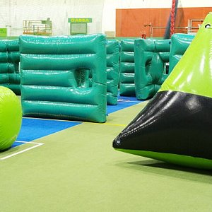 Our fantastic inflatable maze, setup for laser tag parties!