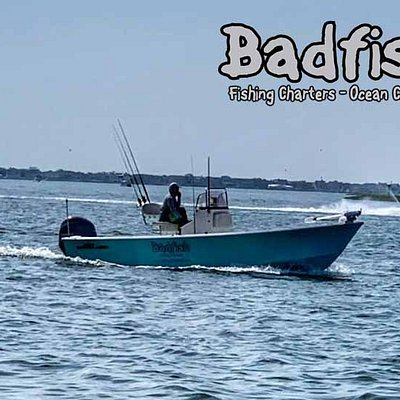 Badfish Charters is  23foot cape classic designed for fishing both ocean front and the shallow flats of our region.   One of very few boats in the area that can float in 10 inches and still fish 10 plus miles out