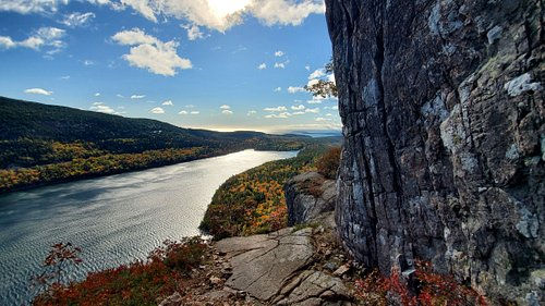 views of jordan pond from the cliffs