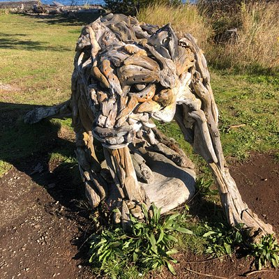 A cougar made from drift wood