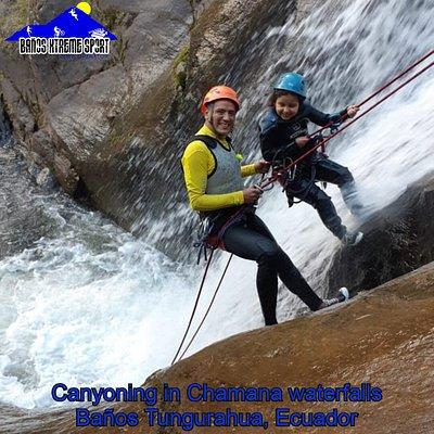 Canyoning in Chamana Waterfalls, Baños Tungurahua, Ecuador