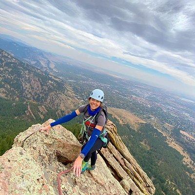 Climbing the First Flatiron in Boulder, Colorado. (Private Guiding)