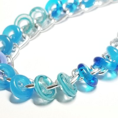 blue colors glass beads handcrafted by gaby