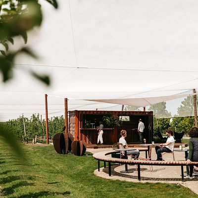 Shipping container bar sits in courtyard surrounds, nestled within apple orchards.