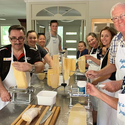 Pasta Making cooking class action! Our participants are always delighted with their results.