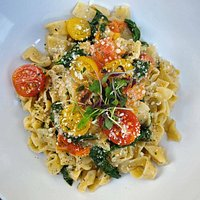 "again ""Il Pachino"" from our menu on a different angle, with a different kind of pasta. This is ""Fettuccine"" asta."