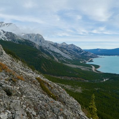 Abraham Lake and the David Thompson Highway from a recent hike of ours.