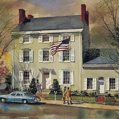 The James-Lorah Memorial Home in Doylestown, 1848. Birthplace of Henry Chapman Mercer