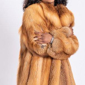 Natural red fox 3/4 coat.