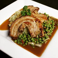 Pork Strips on a bed of onion mash