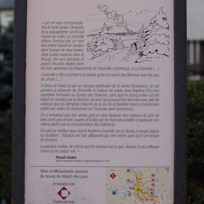 Le plus impressionnant sur ce parcours, c'est l'épisode tragique de l'incendie de 1763 qui a ravagé 24 maisons dans le bourg.