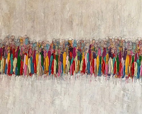 Title: Exodus  Size : 100 cm x 100 cm  Acrylic on canvas Painting style: Palette knife  Availability: Sold