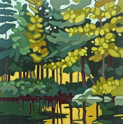 Leanne Baird, Wolf Lake VIII, 2019, acrylic on wood panel, 12 x 12 inches