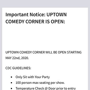 None of these guidelines are being followed! Sold out shows/more than 100 people. No temperature checks. Sitting people together.