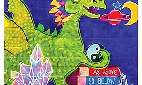 The dragon is part of the wall mural