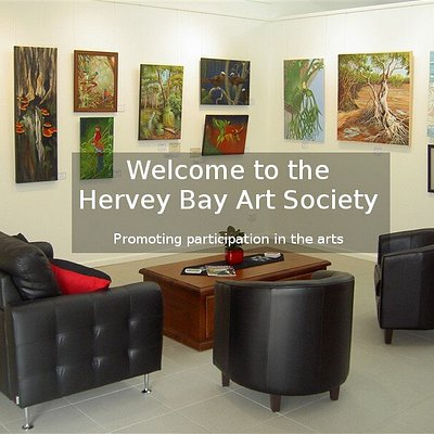 Foyer of Hervey Bay Art Society's Gallery 5.  Gallery 5 at 5 Sandy St Urangan - open 7 days - fine art always on display.