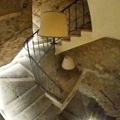 Spooky stairs down to the bar in the tower