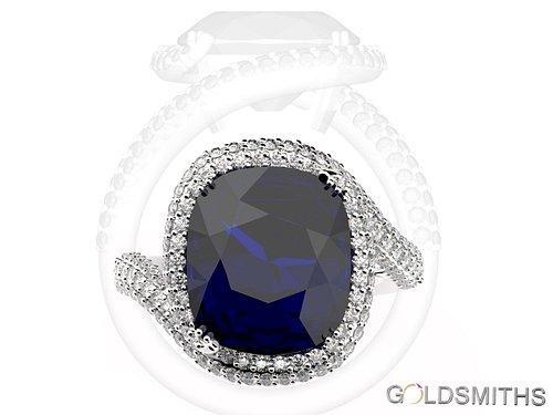 Sapphire and diamond ring, designed by Darryl van der Velde of Goldsmiths Knysna.