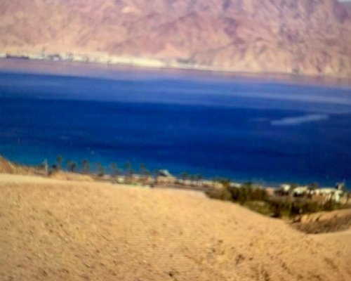 Views from the mountain- looking down towards the Red Sea, which is of course blue.