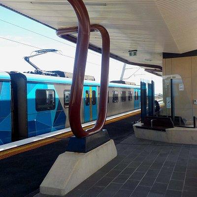 City bound train arrives