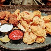 Louisiana Combo....Catfish, Shrimp, Crawfish Etoufee, Hush Puppies, Waffle Fries