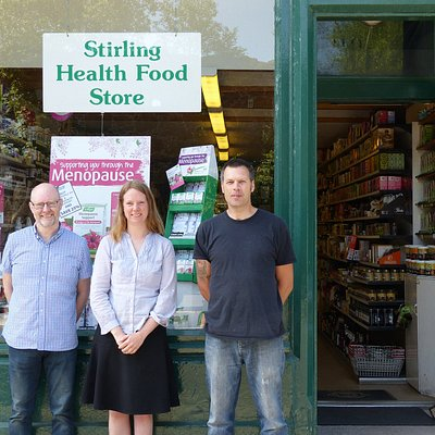 That's us at the Stirling Health Food Store. From left to righ: Stuart, Josine, Gregor