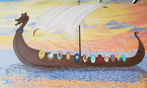 Viking ship on our new mural by Ginger Hill.