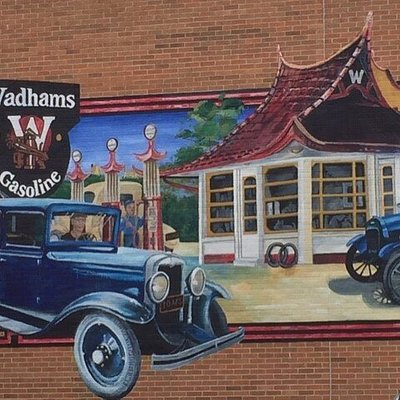 Downtown Plymouth WI. One of many murals.  Walk downtown from the park.. right across the street from park