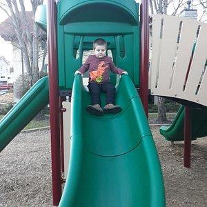 Logan on the slide