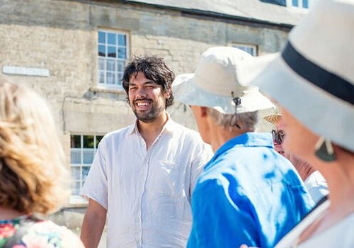 Our Founder, Jules, sharing a little bit of hidden England with a party of inquisitive explorers!