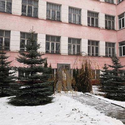 На фоне здания бывшего строительного института
