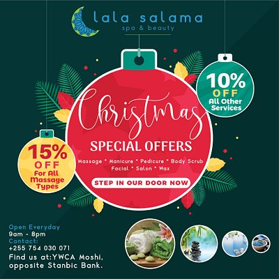 December's here & it's time for a new Monthly Offer from Lala Salama Spa...it's a good one!  #moshi #spa #monthlyoffer #lalasalama