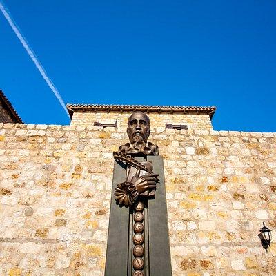 Statue of Miguel De Cervantes, Old town Ulcinj,  Hotel Palata Venezia