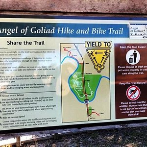 The Angel of Goliad hike and bike trail is a combination of boardwalks on the north side  and open trails on the south side near the missions
