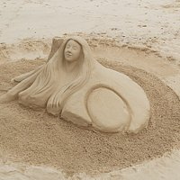 Sand sculpture at Playa la Clavellina