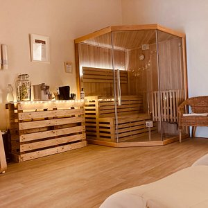 our finish sauna in the relaxing room with water, tea and coffee in free self-service