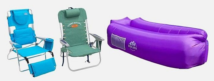 A collage including, a blue reclining beach chair with a footrest, a green folding beach chair, and purple inflatable couch.