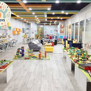 Our Main Play Space features structured and open-ended play sections.